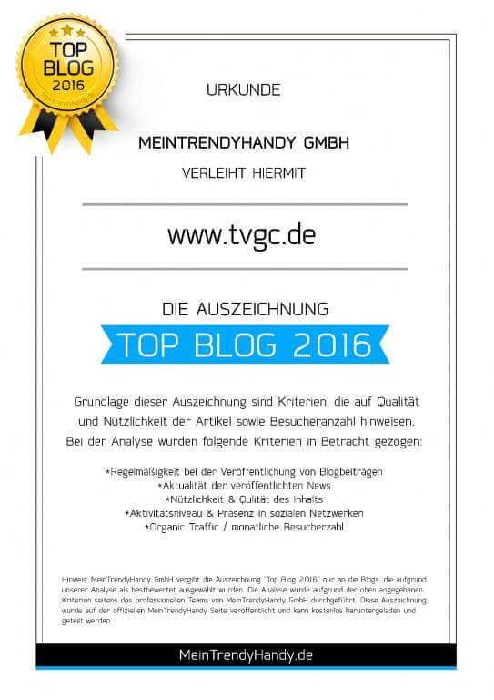 TVGC wurde als Top Blog 2016 ausgezeichnet